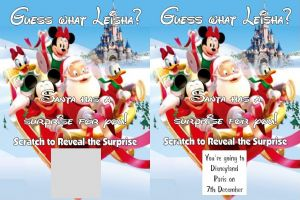 Personalised Surprise Disney Holiday Reveal Scratch Card From Santa